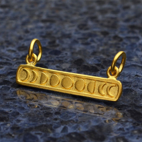 Gold Pendant Festoon - Moon Phases in 24K Gold Plate