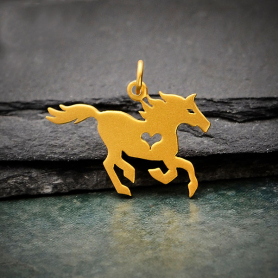 Satin 24K Gold Plated Horse Charm with Heart Cutout 20x23mm