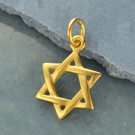 Gold Pendant - Star of David in 24K Gold Plate 18x11mm