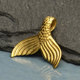 Gold Pendant - Mermaid Tail with 24K Gold Plate 15x16mm