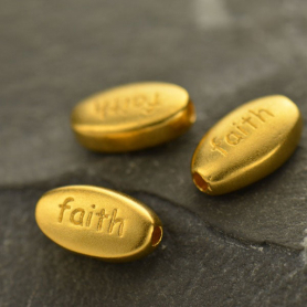 Gold Bead - Faith Oval with 24K Gold Plate DISCONTINUED