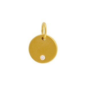 Gold Charms - Round Disc with Diamond in 24K Gold Plate