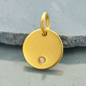 Gold Charm -Round Disc with Diamond in 24K Gold Plate 12x8mm