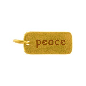 Gold Word Charms - Peace with 24K Gold Plate DISCONTINUED
