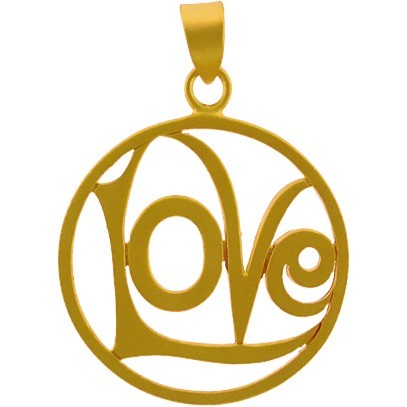 Gold Charm - Openwork Love Circle w Gold Plate DISCONTINUED