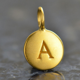 Gold Charms - Letter A with 24K Gold Plate 13x8mm