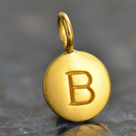 Gold Charms - Letter B with 24K Gold Plate 13x8mm