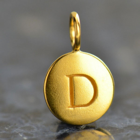 Gold Charms - Letter D with 24K Gold Plate 13x8mm