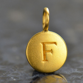 Gold Charms - Letter F with 24K Gold Plate 13x8mm