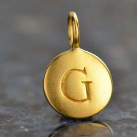 Gold Charms - Letter G with 24K Gold Plate