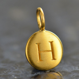 Gold Charms - Letter H with 24K Gold Plate