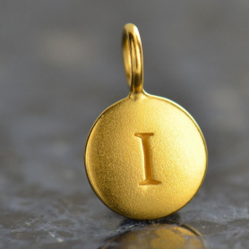 Gold Charms - Letter I with 24K Gold Plate