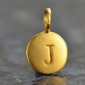 Gold Charms - Letter J with 24K Gold Plate