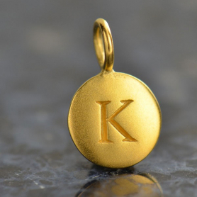Gold Charms - Letter K with 24K Gold Plate