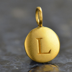 Gold Charms - Letter L with 24K Gold Plate