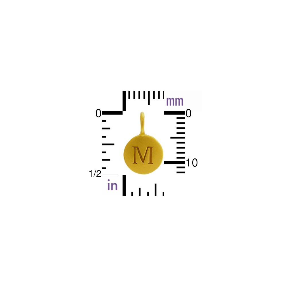 Gold Charms - Letter M with 24K Gold Plate 13x8mm