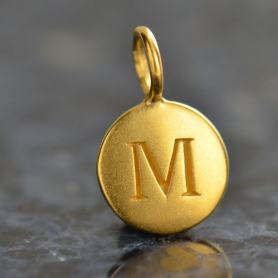 Gold Charms - Letter M with 24K Gold Plate