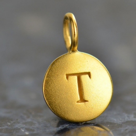 Gold Charms - Letter T with 24K Gold Plate