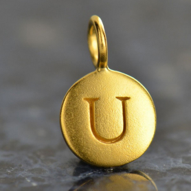 Gold Charms - Letter U with 24K Gold Plate