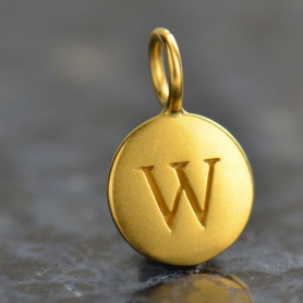 Gold Charms - Letter W with 24K Gold Plate