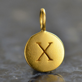 Gold Charms - Letter X with 24K Gold Plate