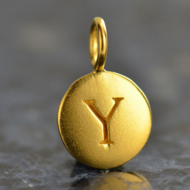 Gold Charms - Letter Y with 24K Gold Plate