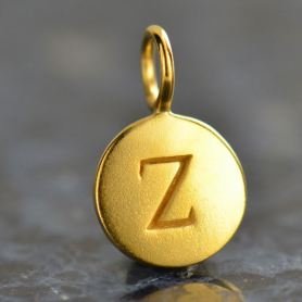 Gold Charms - Letter Z with 24K Gold Plate