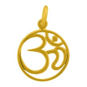 Gold Charms - Openwork Om with 24K Gold Plate 21x15mm