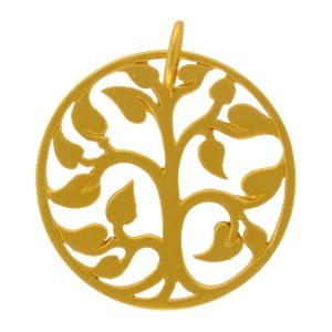 Gold Charm - Medium Tree of Life with 24K Gold Plate 24x20mm