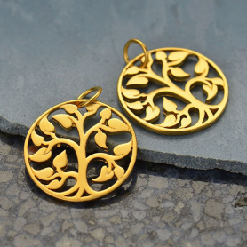 Gold Charms - Medium Tree of Life with 24K Gold Plate