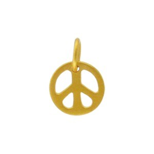 Gold Charms - Small Peace with 24K Gold Plate 12x9mm