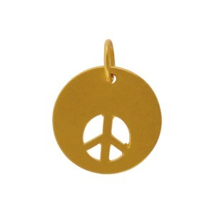 Gold Charm - Peace Sign Cutout w 24K Gold Plate DISCONTINUED