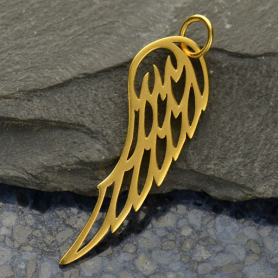 Gold Charms - Large Wing with 24K Gold Plate DISCONTINUED