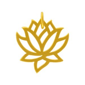 Gold Charms - Medium Lotus with 24K Gold Plate