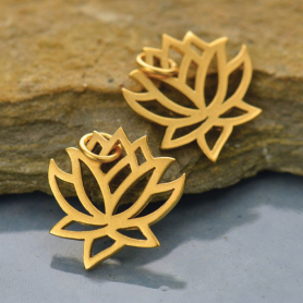 Gold Charms - Medium Lotus with 24K Gold Plate 18x15mm