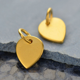Gold Charms - Small Lotus Petal with 24K Gold Plate