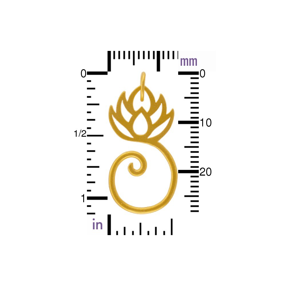 Gold Charm Holder - Lotus with 24K Gold Plate 28x14mm