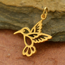 Gold Charms - Hummingbird with 24K Gold Plate 23x19mm