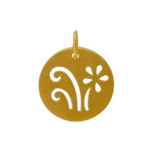 Gold Charm - Round Disc w Flower in Gold Plate DISCONTINUED