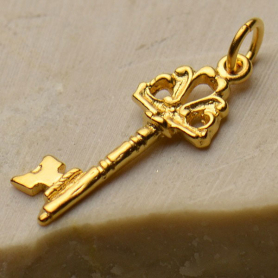 Charm - Key w Victorian Crest in Gold Plate DISCONTINUED