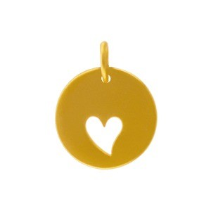 24K Gold Plated Round Charm with Heart Cutout 16x12mm