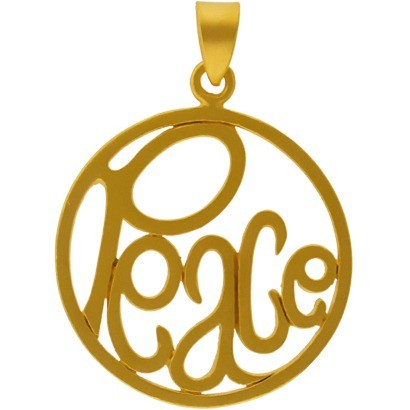 Gold Charm - Openwork Peace with 24K Gold Plate DISCONTINUED
