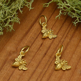 Satin 24K Gold Plated Tiny Honey Bee Charm 13x7mm