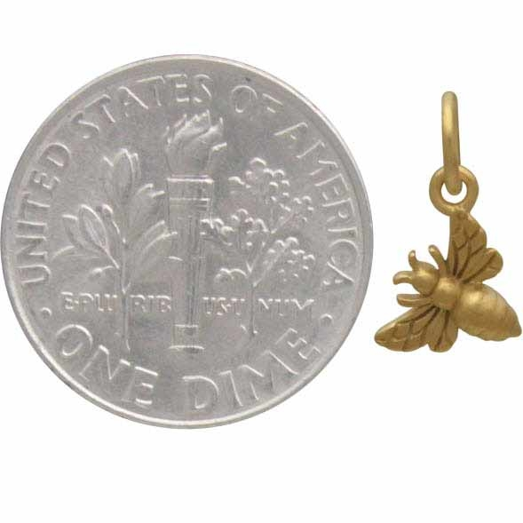 Satin 24K Gold Plated Tiny Honey Bee Charm Left Side 13x7mm