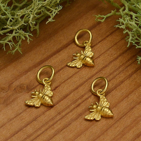 Gold Charm - Tiny Honey Bee Left Side in 24K Gold Plate