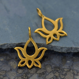 Gold Charms - Lotus Blossom Dangle with 24K Gold Plate