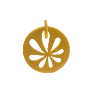 Charm-Round Disc w Daisy Cutout in Gold Plate DISCONTINUED