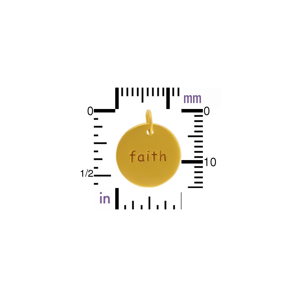 Gold Word Charms - Round Faith w 24K Gold PlateDISCONTINUED