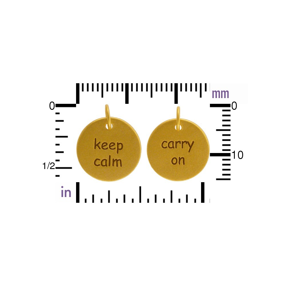 Charm - Keep Calm Carry On w Gold Plate DISCONTINUED