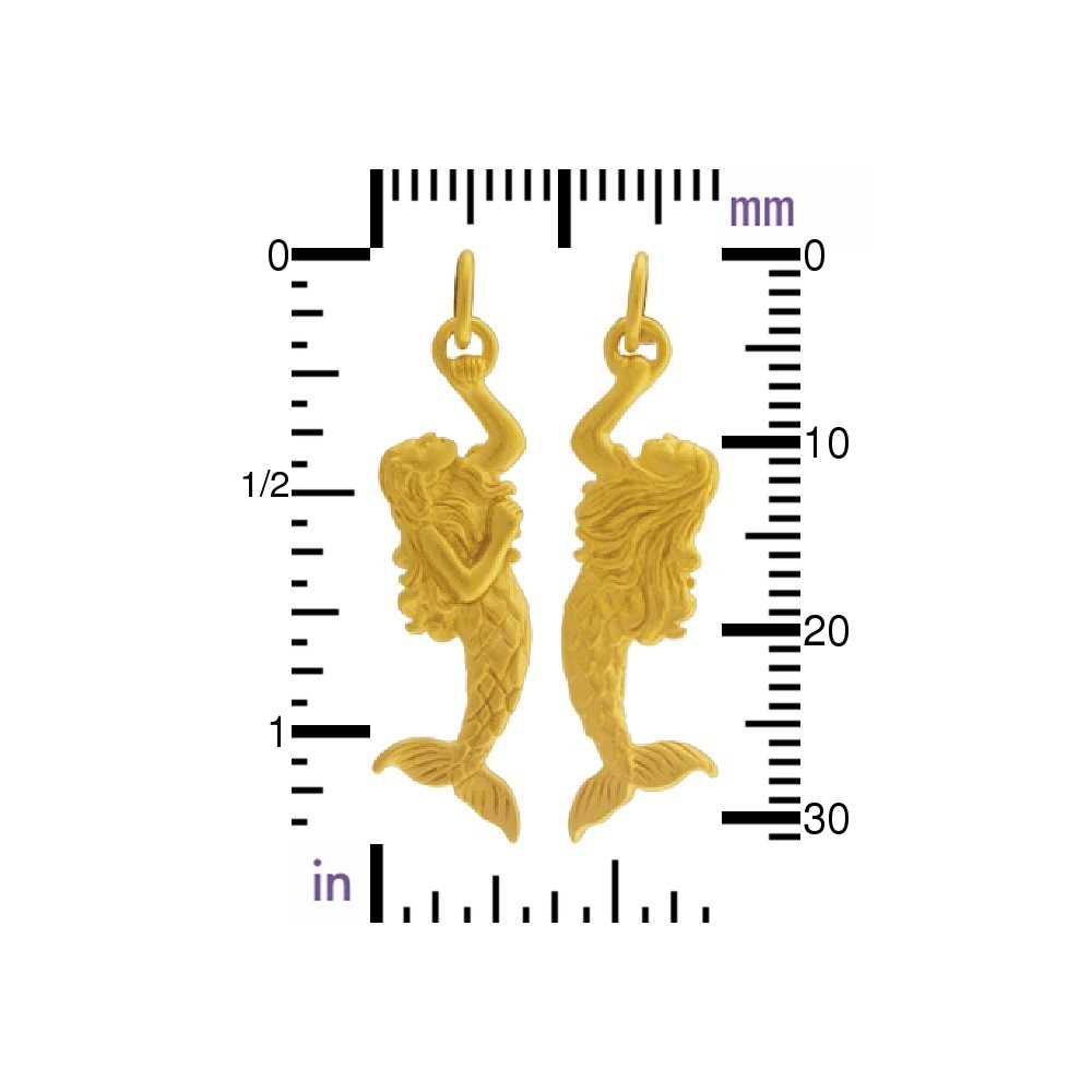 Gold Charms - 3D Mermaid with 24K Gold Plate 30x9mm